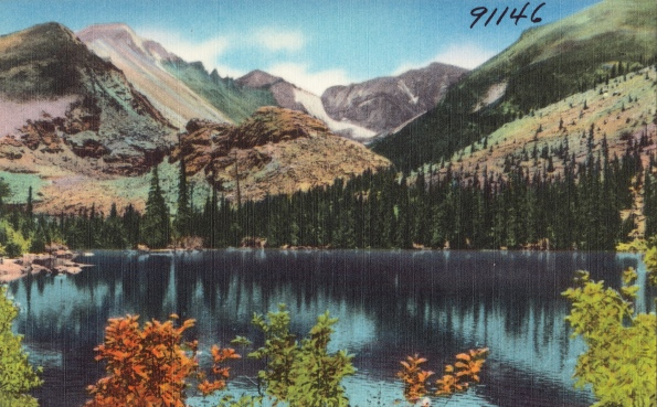 Colorado. Vintage postcard of Bear Lake in Rocky Mts. (Boston Lib/USPD.pub.date, artist life/Commons.wikimedai.org)