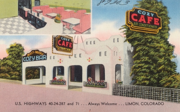 Vintage stucco cafe along tourist route. Limon, Colorado. Vintage postcard.(Tichnor Bros. postcard, Boston Lib/USPD.pub.date, artist life/Commons.wikimedia.org)