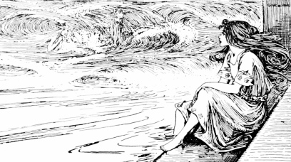 Woman watching sea. 1899. Stratton/Hans Christian Andersen/NYPub.Lib/USPD. artist life, pub.date/Commons.wikimedia.org