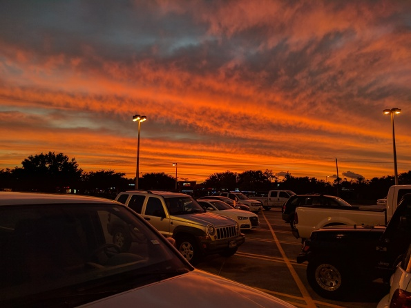 (ALLrights reserved) Grocery store parking lot sunset day before hurricane/tropical(NO permissions granted) storm Cindy. (Copyrighted)