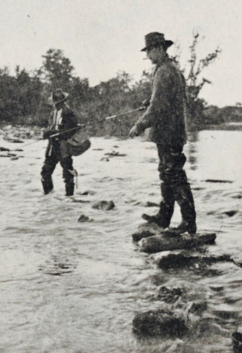 Fishermen in stream with rods and reels. (USPD. pub.date/UA archives/ Flickr/Commons.wikimedia.org)