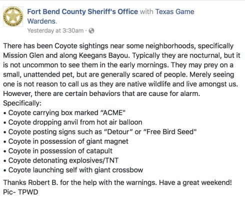 humorous message by Fort Bend County Sheriff about coyotes in area (Image: FT. Bend County Sheriff FaceBook page/Texas Parks and Wildlife)