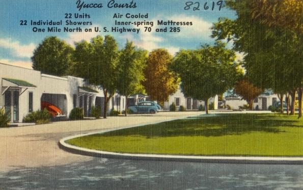 Motel Postcard. Motel in New Mexico.1930-45/Tichnor Bros. Boston Pub.Lib/USPD. artist life, pub,date/Commons.wikimedia.org)
