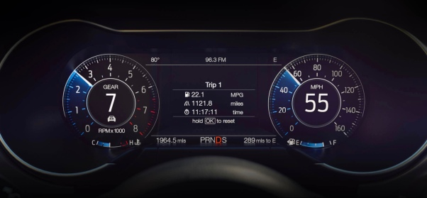 Instrument display of Ford Mustang GT 500. (Ford.com)