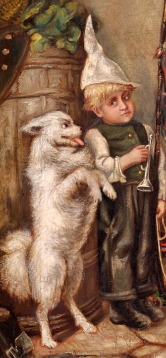 Mischievous little boy and dancing dog. (USPD. Artist life, pub.date/Commons.wikimedia.org)