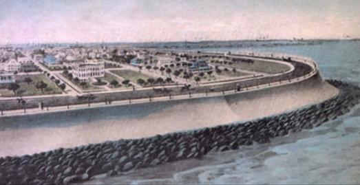Vintage postcard.Galveston Sea wall. 1903, 4 miles long, 17 feet tall. 20 feet at base, 5 feet at apex. solid concrete. Postcard. USPD.pub.date/commons.wikimedia.org