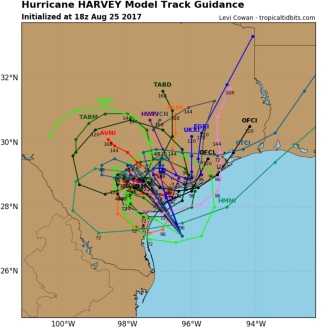 Hurricane Harvey possible tracks (tropicaltidbits/Mike's weather page)