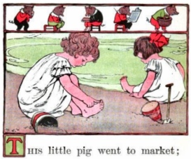Vintage illustration. Two little girls playing This Little Pig. Wentworth; Eugene/Ginn and co.(USPD.pub date, 1912, artist life,/Commons.wikimedia.org)