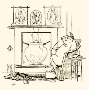 Pig in living room by fireplace. 1905.L.Leslie Brooke/Gutenberg.org/USPD.pub.date, artist life/Commons.wikimedia.org)