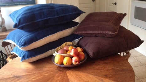 Fruit and dog beds on table. Image ©ALL rights reserved> NO permissions granted. Copyrighted