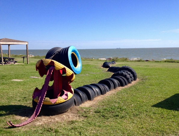 Sea serpent or dragon made from recycled tires and materials on the Pine Gully playground (Image: all rights reserved, copyrighted, no permissions granted)