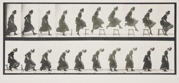 Woman locomotion study by Eadweard Muybridge. 1884-86. USC digital lib.(USPD.pub.date/Commons.wikimedia.org)