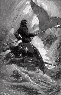 Ship sinking as men fight Moby Dick (1901/ Taber/Schiberner's Sons/USPD, pub.date, artist life/Commons.wikimedia.org)