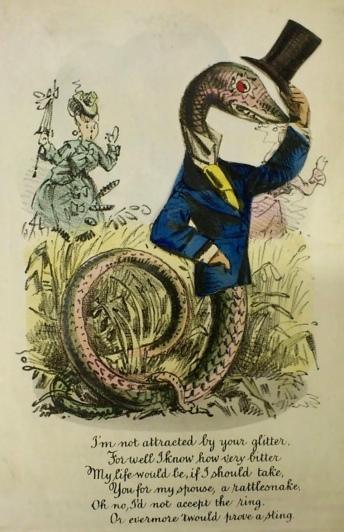 "Valentine Snake.1870's. ""Vinegar valentine"" (USPD. pub.date, artist life/Commons.wikimedia.org)"