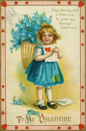 Valentine, 1910 American, Little girl holding Valentine with poem. Missouri History Museum/Int. Art Pub.Co. (USPD pub.date, artist life/Commons.wikimedia.org)