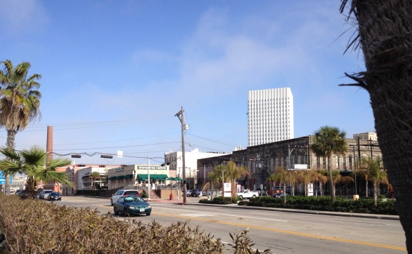 Harbourside Drive behind Galveston's Strand. New chain eateries among the vintage buildings (Image: copyrighted, all rights reserved/NO permissions granted)