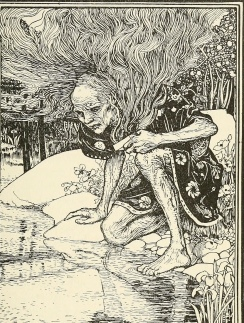 Man at pond. from 1897 Pink Fairy Tale book, Lang (USPD. pub.date, artist life/Commons.wikimedia.org)