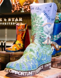 4 foot tall cowboy boot decorated for Rodeo contest by The Brookwood Community (Image: Reliant Energy FB page)