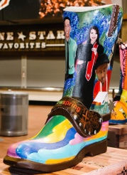 4 foot cowboy boot decorated for rodeo contest by Newspring Art Studio (Image from Reliant Energy FB page)