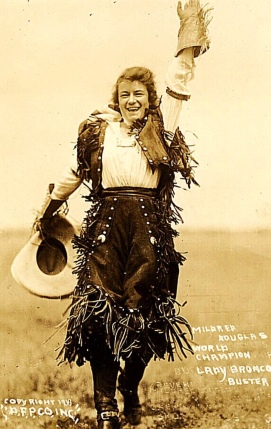 Vintage cowgirl Mildred Douglas (Muffet/flickr/USPD. pub.date, artist life/Commons.wikimedia.org)