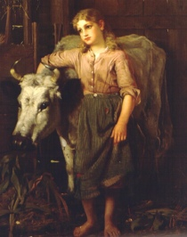 girl in barn standing by cow. Painting by John George Brown (1831-1913) (USPD. reprod of PD art, artist life/Commons.wikimedia.org)