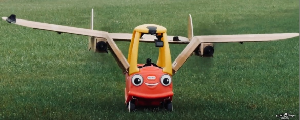 Runway ready. FLying Little TIkes Car by Flite Test (Youtube screenshot)