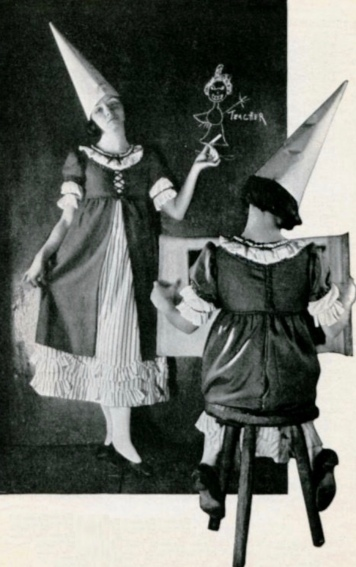 girls in school costumes with dunce hats. 1922 Film promo still. The Tattler 1922 (USPD.pub.date, artist life/Commons.wikimedia.org)