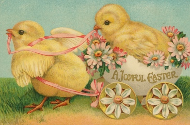 Two Easter chicks and decorative wagon. (Missouri History Museum/USPD. artist life, pub.date/Commons.wikimedia.org)