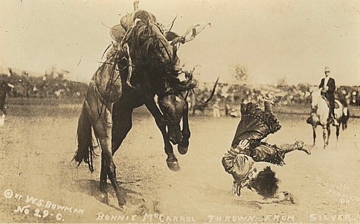 Rodeo cowgirl being thrown from bronco. Bonnie McCarroll. Woman's events were common in 1920's. This was 1915 Pendleton Round-up. (USPD. pub.date, artist life/Commons.wikimedia.org)