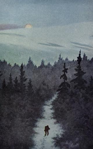 Hiker on snowy moon lite mountain trail. Kitterlsen postcard (1920's/Nat.Lib.of Norway/USPD- artist life, pub.date/Commons.wikimedia.org)