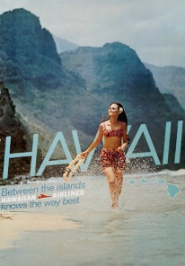 Hawaii Travel poster of girl holding lei in surf along beach (USPD. pub.date/San Diego Air and Space Museum/Commons.wikimedia.org)