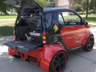car. Power in the rear of modified Smart car. Smartacus. (Image Craigslist/jalopnik)