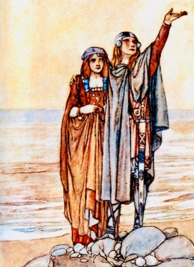 Man and woman. Couple on beach by sea (Fairy tale/(ill.Stephen Reid /USPD. artist life, pub.date/Commons.wikimedia.org)