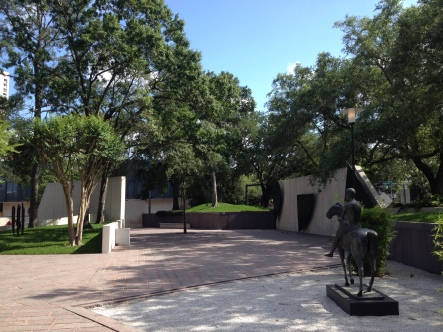 MFAH architecture. Sculpture garden path leading to main building. ( Image. all rights reserved, copyrighted, no permissions granted)