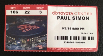 Concert ticket Paul Simon. (© Image all rights reserved, copyrighted NO permissions granted )
