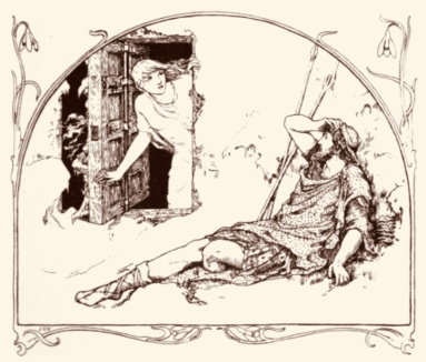 Couple.Woman looking out window. Man sitting outside. Batten's illustration of The Story of Deirdre, Celtic Fairy Tales, 1891 (USPD. pub.date, artist's life/Commons.wikimedia.org)