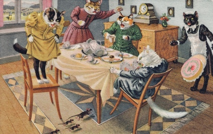 Cats around table scrambling as mice run under. (USPD.artist life, pub date vintage postcard/Commons.wikimedia.org)