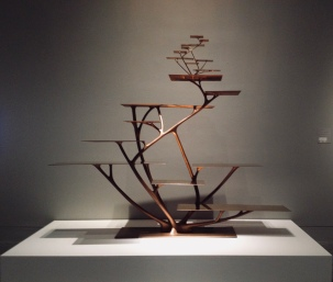 Giant 3-D printed copper colored Sculpture by Joris Laarman. MFAH ( Image copyrighted, no permissions granted, all rights reserved)