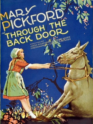 Girl and stubborn mule. MAry Pickford 1921 film. (USPD pub.date, artist life/Commons.wikimedia.org)