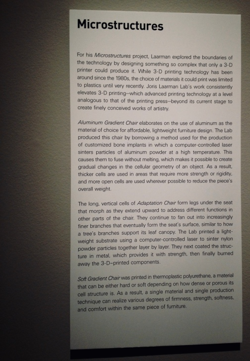 Chair description and production info for 3-D chairs by Joris Laarman Lab/ MFAH exhibit)