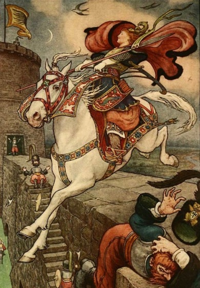 "White horse and Russian woman rider ""She put her good steed to the walls and leapt lightly over them"" Russian Story Book/Wilson, ill. Pape, 1916 (USPD. pub.date, artist life/Commons.wikimedia.org)"