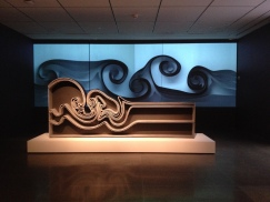 Vortex bookcase and blue rolling design. Joris Laarman Lab. MFAH