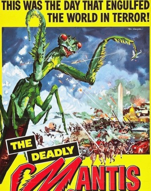 Insect monster Preying Mantis fighting army. 1957 film poster. Reynold Brown (USPD. pub.date, artist life/Commons.wiikimedia.org)