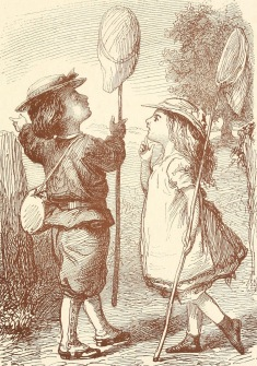 children with butterfly net. 1869, French Children's Story, (USPD. pub.date/COmmons.wikimedia.org)