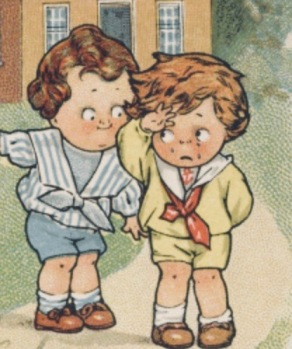 Two vintage Campbell Soup kids. Boy in distress. (USPD. artist life, pub.date/Flickr/Commons.wikimedia.org)