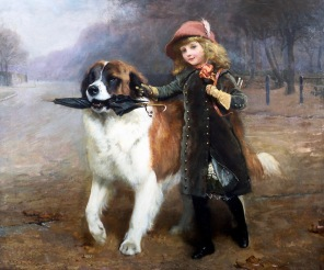 Large dog escorting girl to school. Charles Burton Barber. (1883. USPD Pub.date, artist life/Commons.wikimedia.org)