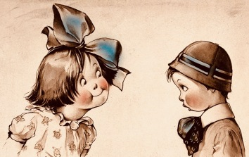 2 children facing each other. The little girl wears a giant bow in her hair.. lithograph from Iconic Collections, Wellcome Trust (Commons.wikimedia.org)