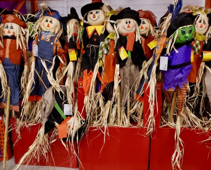 Crowd of Halloween or fall Scarecrows waiting to be adopted from Home Depot. (© Image: all rights reserved, copyrighted, NO permissions granted)