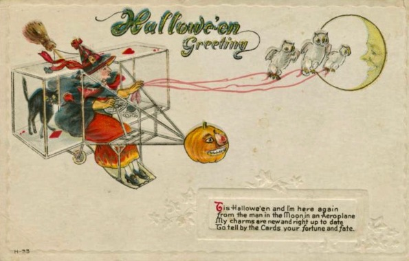 Witch and cat in vintage plane with owls on leash. Halloween card. Vintage. (USPD. pub.date/Commons.wikimedia.org)