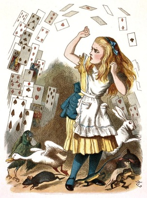 Shower of cards attacking Alice in Wonderland, Tenniel, 1890 (USPD.pub.date, artist life/Commons.wikimedia.org)
